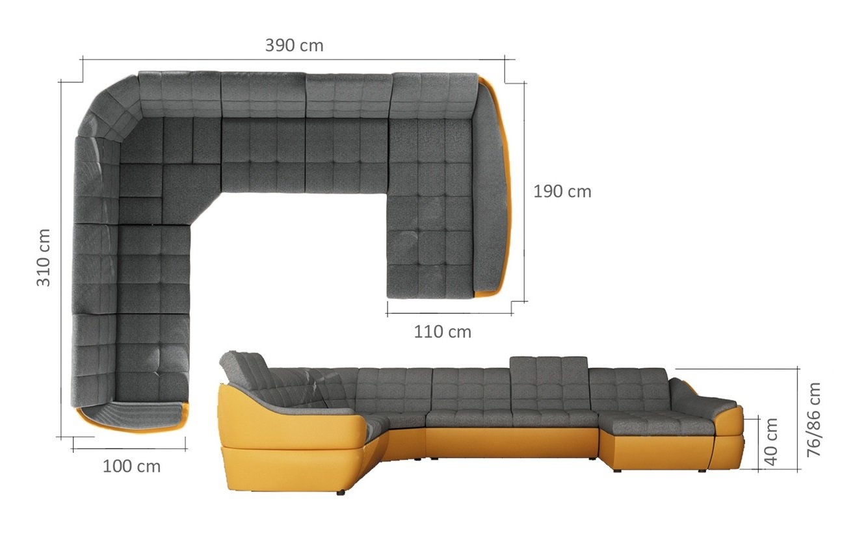 Dimensiuni Coltar extensibil, cu lada - Infinity XL